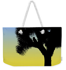 Great Horned Owl In A Joshua Tree Silhouette At Sunrise Weekender Tote Bag
