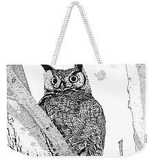 Great Horned Owl In A Tamarisk Weekender Tote Bag