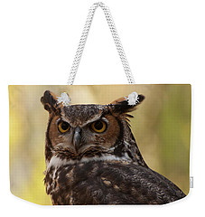 Weekender Tote Bag featuring the photograph Great Horned Owl In A Tree 1 by Chris Flees