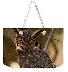 Weekender Tote Bag featuring the photograph Great Horned Owl In A Tree 2 by Chris Flees
