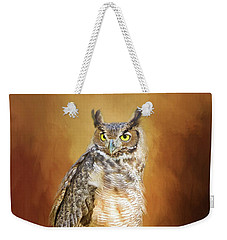 Great Horned Owl In Autumn Weekender Tote Bag