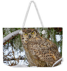 Great Horned Owl In Snow Weekender Tote Bag