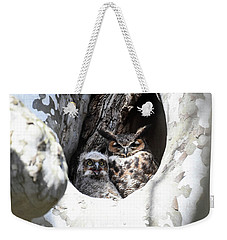 Weekender Tote Bag featuring the photograph Great Horned Owl Nest by Gary Wightman