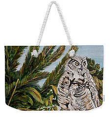 Weekender Tote Bag featuring the painting Great Horned Owl - Owl On The Rocks by Marilyn  McNish