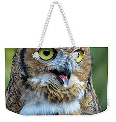 Great Horned Owl Smiling Weekender Tote Bag by Amy Porter