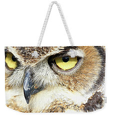 Great Horned Owl Up Close Weekender Tote Bag by Steve McKinzie