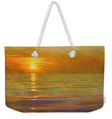 Weekender Tote Bag featuring the digital art Great Lakes Setting Sun by Michelle Calkins