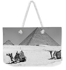 Weekender Tote Bag featuring the photograph great pyramids of Giza by Silvia Bruno