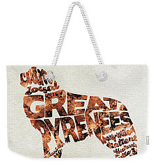 Weekender Tote Bag featuring the painting Great Pyrenees Watercolor Painting / Typographic Art by Ayse and Deniz