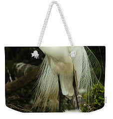 Majestic Great White Egret High Island Texas 3 Weekender Tote Bag by Bob Christopher