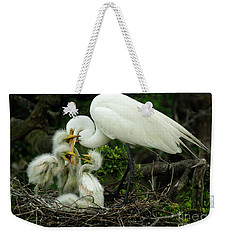 Majestic Great White Egret High Island Texas 9 Weekender Tote Bag by Bob Christopher