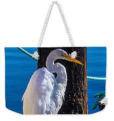 Great White Heron On Boat Dock Weekender Tote Bag by Garry Gay