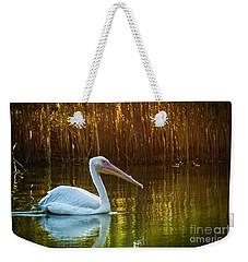 Great White Pelican Swimming On Lake Weekender Tote Bag