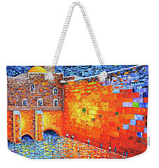 Wailing Wall Greatness In The Evening Jerusalem Palette Knife Painting Weekender Tote Bag by Georgeta Blanaru