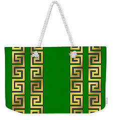 Greek Gold Pattern - Chuck Staley Weekender Tote Bag by Chuck Staley