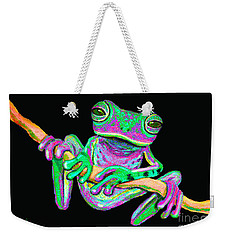 Green And Pink Frog Weekender Tote Bag by Nick Gustafson