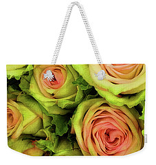 Weekender Tote Bag featuring the photograph Green And Pink Rose Bouquet by Jessica Manelis