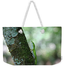 Green Anole Climbing Weekender Tote Bag by Christopher L Thomley