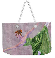 Weekender Tote Bag featuring the painting Green Ballerina by Jamie Frier