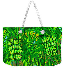 Weekender Tote Bag featuring the digital art Green Bananas by Jean Pacheco Ravinski