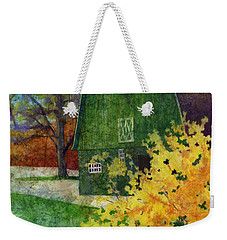 Weekender Tote Bag featuring the painting Green Barn by Hailey E Herrera