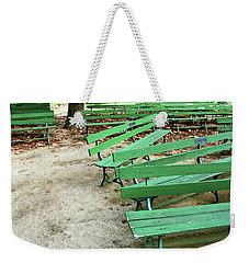 Green Benches- Fine Art Photo By Linda Woods Weekender Tote Bag by Linda Woods