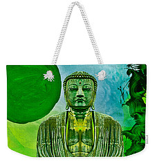 Weekender Tote Bag featuring the mixed media Green Buddha by Lita Kelley