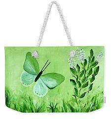 Weekender Tote Bag featuring the painting Green Butterfly by Sonya Nancy Capling-Bacle