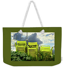 Green Chairs. Weekender Tote Bag by David Gilbert