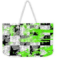 Green Checker Skull Splatter Weekender Tote Bag