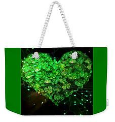 Green Clover Heart Weekender Tote Bag