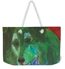 Weekender Tote Bag featuring the painting Green Collie by Donald J Ryker III