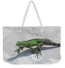 Green Common Iguana Creeping Across A Walkway Weekender Tote Bag by DejaVu Designs