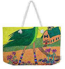 Green Crane With Leggings And Painted Toes Weekender Tote Bag