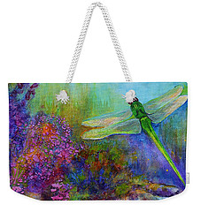 Green Dragonfly Weekender Tote Bag by Claire Bull