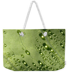 Weekender Tote Bag featuring the photograph Green Drops by Raffaella Lunelli