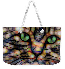 Green Eye Kitty Square Weekender Tote Bag by Terry DeLuco