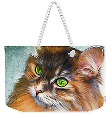 Green-eyed Maine Coon Cat - Remastered Weekender Tote Bag
