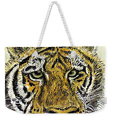 Green Eyed Tiger Weekender Tote Bag by Laurie Rohner