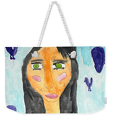 Weekender Tote Bag featuring the painting Green Eyes by Artists With Autism Inc
