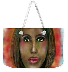 Weekender Tote Bag featuring the digital art Green Eyes by Sladjana Lazarevic