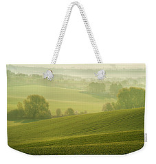 Weekender Tote Bag featuring the photograph Green Foggy Waves by Jenny Rainbow