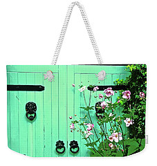Green Gate With Flowers Weekender Tote Bag