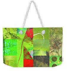 Weekender Tote Bag featuring the digital art Green Grid by Nancy Merkle