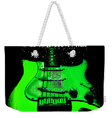 Weekender Tote Bag featuring the photograph Green Guitar Full Time Occupation by Guitar Wacky