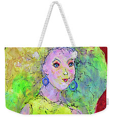 Weekender Tote Bag featuring the painting Green Hair Don't Care by Claire Bull