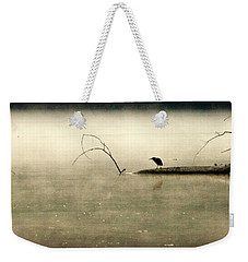 Green Heron In Dawn Mist Weekender Tote Bag by Kathy Barney