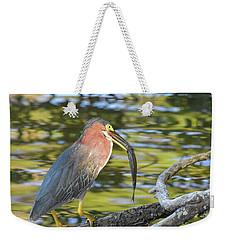 Green Heron With Fish Weekender Tote Bag