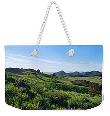 Weekender Tote Bag featuring the photograph Green Hills Landscape With Cactus by Matt Harang
