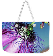 Green Hover Fly On Passion Flower Weekender Tote Bag